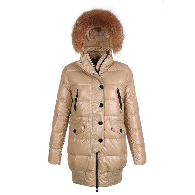 Moncler Loire Fur Hoodie Down Khaki Coat Women