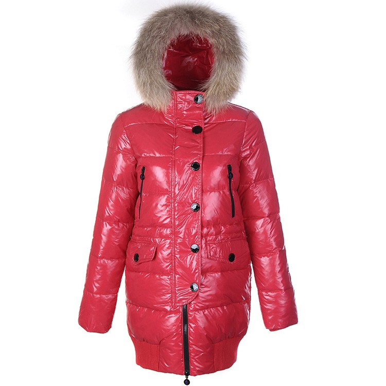 Moncler Loire Fur Hoodie Down Red Coat Women