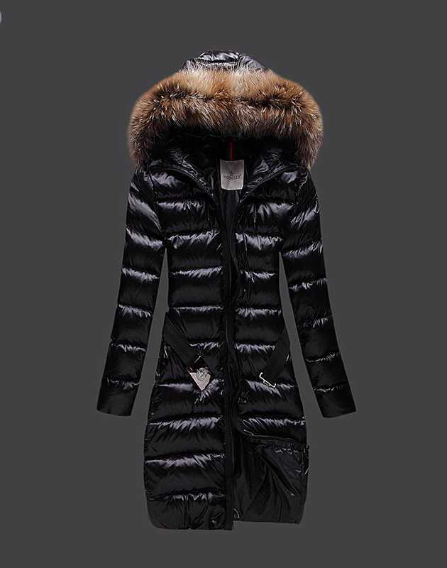 Moncler Long Coats For Women Black With Fur Collars