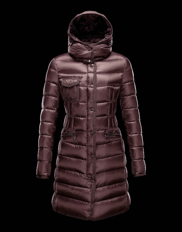 Moncler Long Coats For Women Coffee