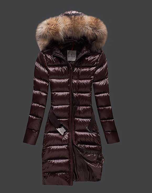 Moncler Long Coats For Women Coffee With Fur Collars