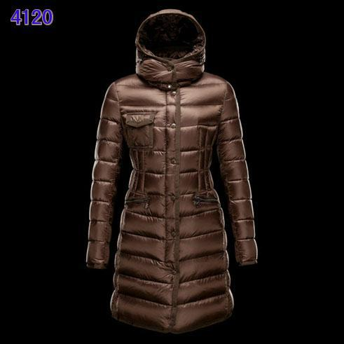 Moncler Long Coats For Women Red Coffee