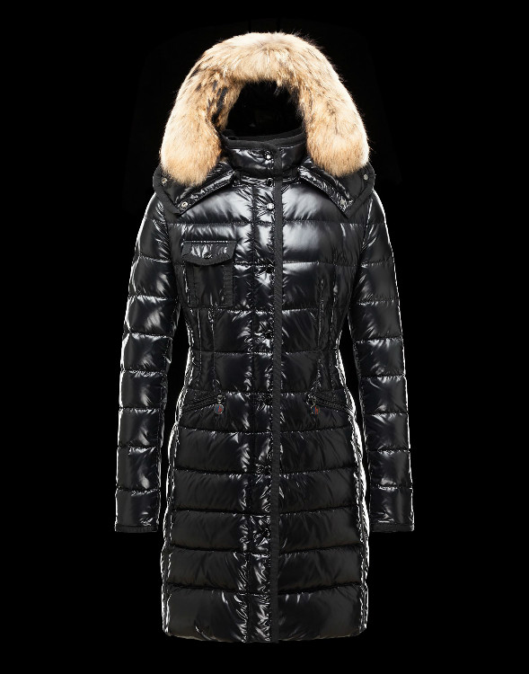 Moncler Long Coats Fur Collars For Women Black