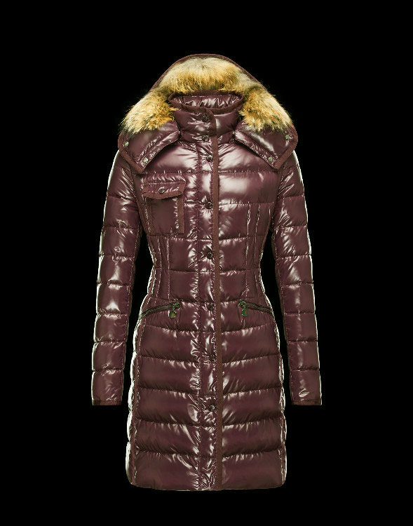 Moncler Long Coats Fur Collars For Women Coffee