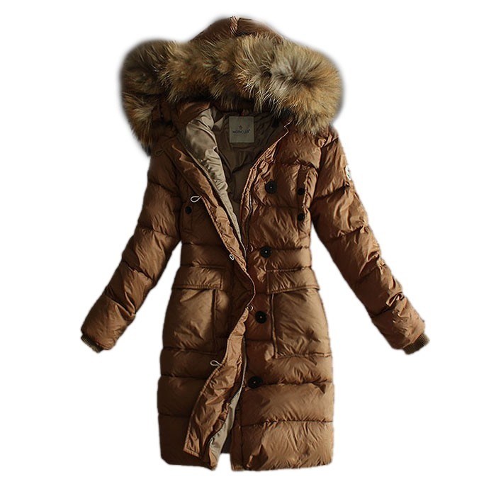 Moncler Long Down Camel Coat Women