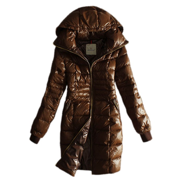 Moncler Long Down Coffee Coat Women