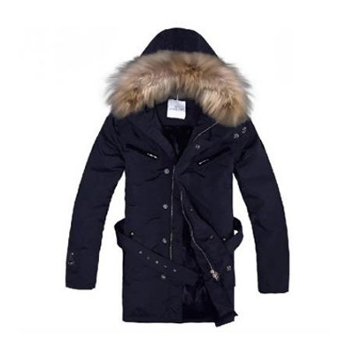 Moncler Long Down Dark Blue Coat Men