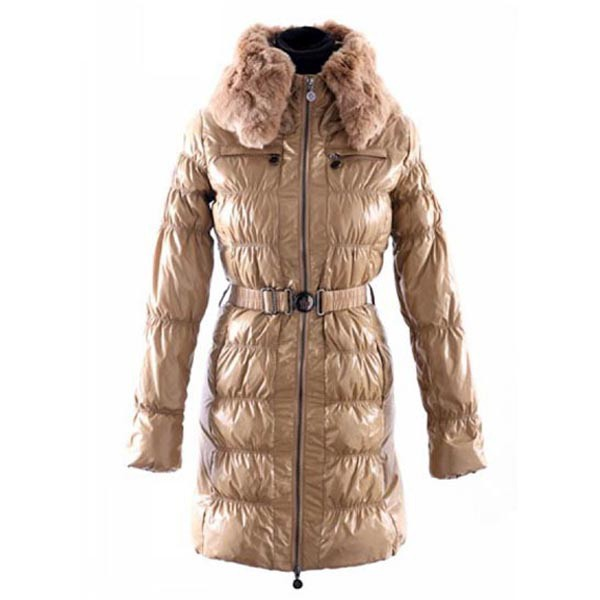 Moncler Long Down Khaki Coat Women