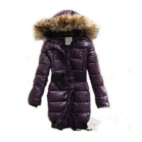 Moncler Long Down Purple Coat Women