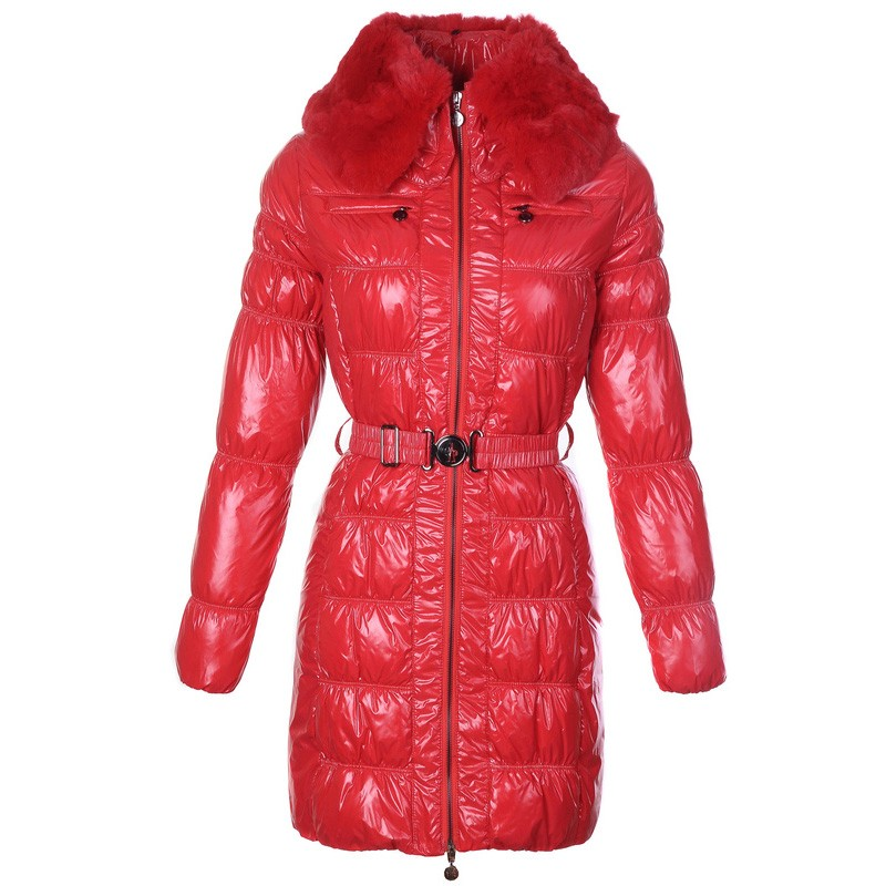 Moncler Long Down Red Coat Women