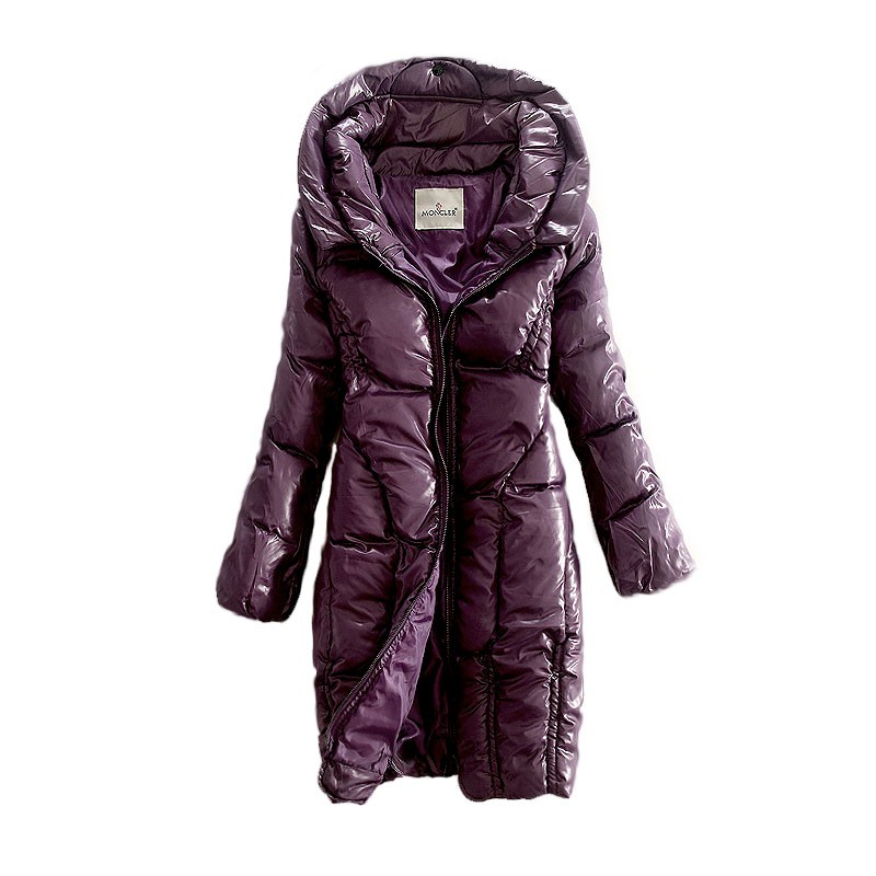 Moncler Long Puff Purple Coat Women
