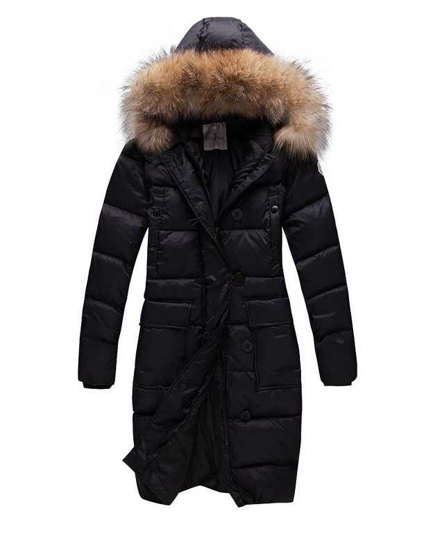 Moncler Long Women Down Coats Black