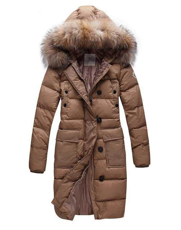 Moncler Long Women Down Coats Coffee