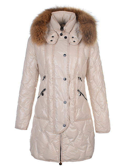 Moncler Lontre Coat Long Sleeve Woman Collar Fur Abric