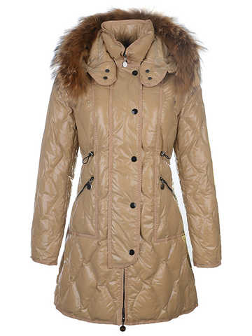 Moncler Women's Jacket Long Jacket Fur Collar Beige
