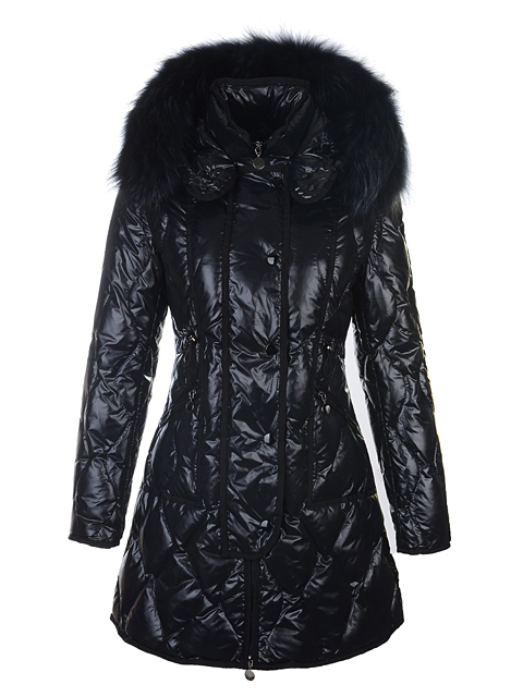 Moncler Lontre Coat Long Jacket Women Fur Collar Black