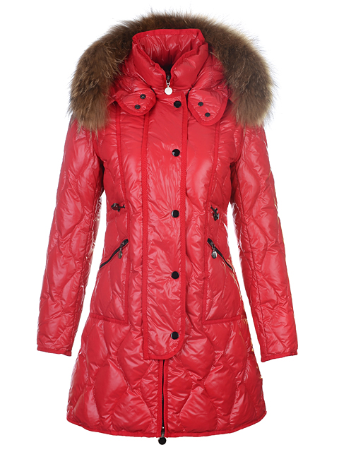 Moncler Lontre Coat Women Fur Long Jacket Red