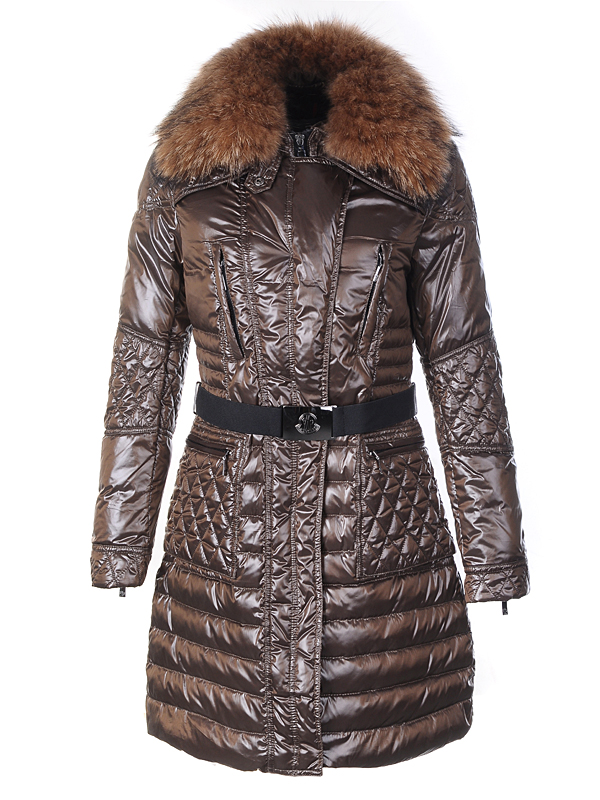 Moncler Maillol women coat fur collar brown belt
