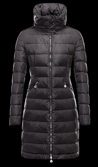 Moncler Women's Winter Coat FLAMME Long Hooded Jacket Black
