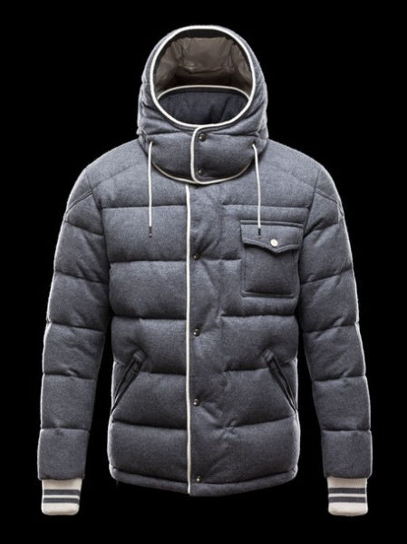 Moncler Coats Men Bresle Hooded Jacket Gray
