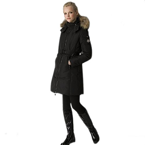 Moncler Marmelade Fitted Techno Belted Parka Black Coat Women