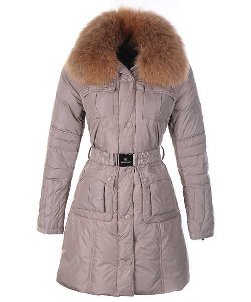 Moncler Marmelade Women Down Coats Fur Collar With Belt Coffee