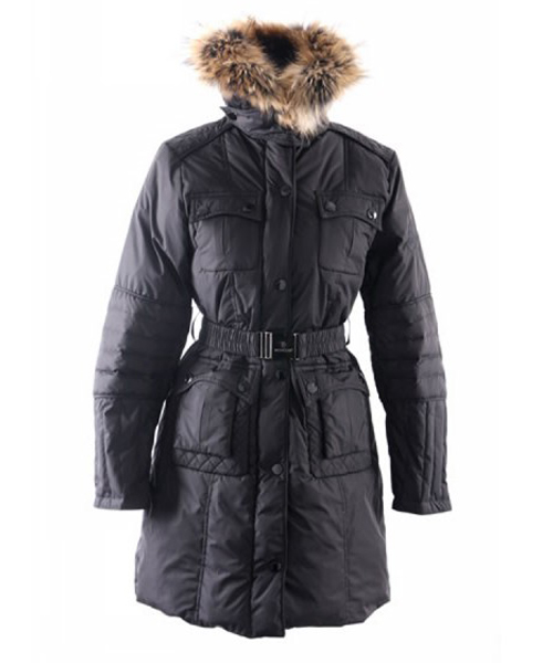 Moncler Marmelade Womens Down Coats Fur Collar With Belt Black