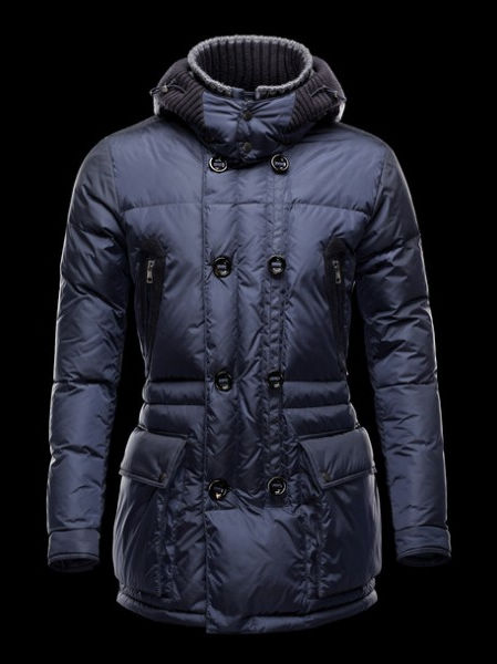 Moncler Mathias Long Coats for Men Blue