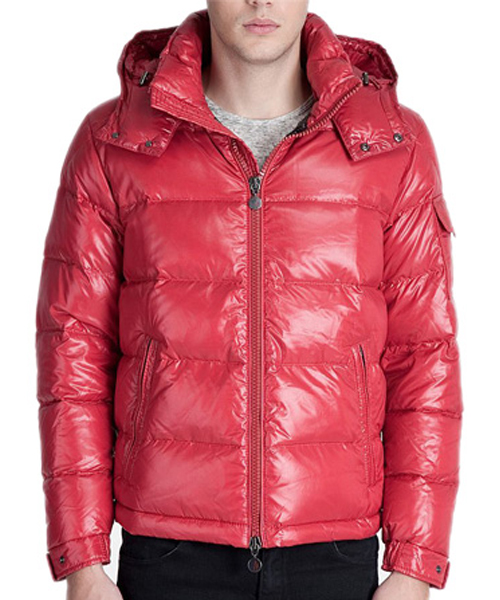 Moncler Maya Winter Down Jacket Mens Short Glossy Zip Red