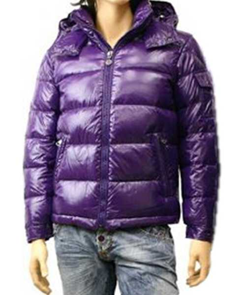 Moncler Maya Winter Down Jackets Mens Short Glossy Zip Purple