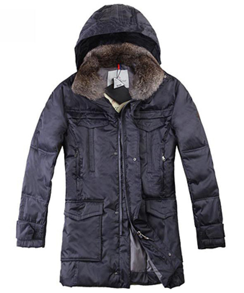 Moncler Men Coat Mid Length Hooded Down Navy Blue