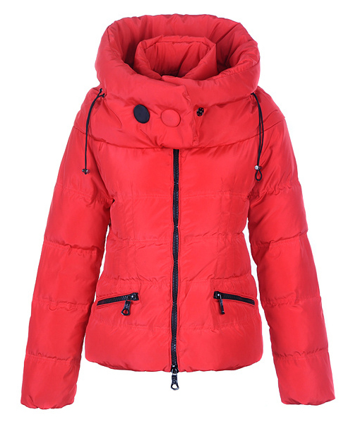 Moncler Mengs Classic Women Down Jackets Round Neck Red