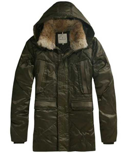 Moncler Mens Coat Mid Length Hooded Down Army Green