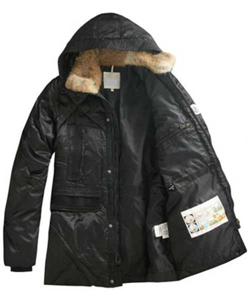 Moncler Mens Coat Mid Length Hooded Down Black