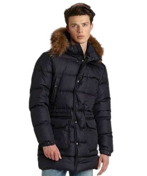 Moncler Mens Coat Navy Blue Single Breasted