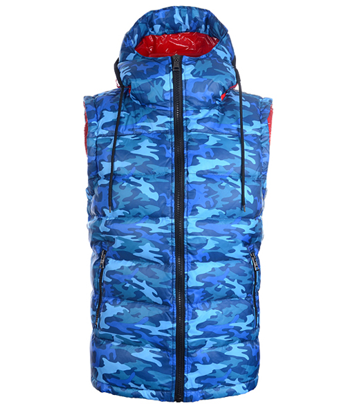 Moncler Mens Down Vest Fashion Hooded Zip Blue