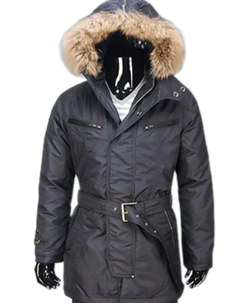 Moncler Mens Long Coat Black Down