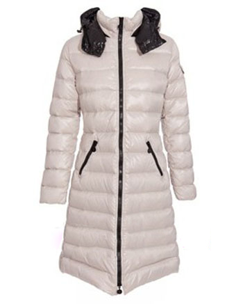 Moncler Moka Long Down Coats Women White