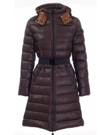 Moncler Moka Long Down Coats Women Brown