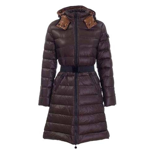 Moncler Mokachine Hooded Puffer Brown Coat Women