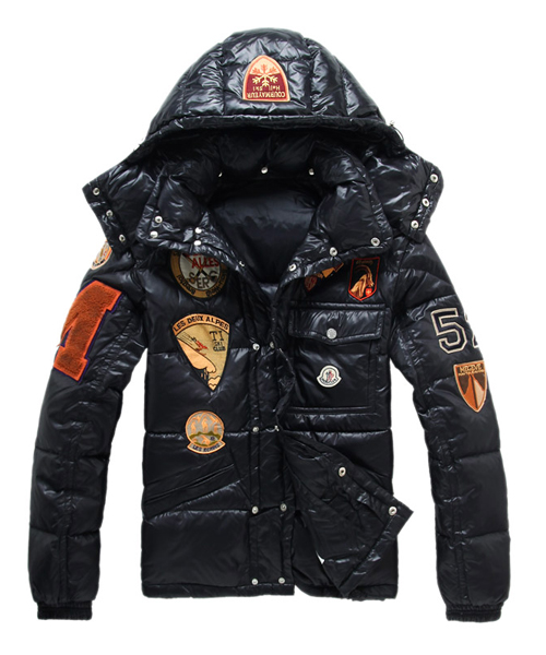 Moncler Multiple Logo Design Men Down Jackets With Hood Black