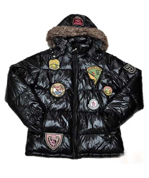 Moncler Multiple Logo Mens And Women Down Jackets Hooded Black