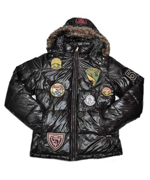 Moncler Multiple Logo Mens And Women Down Jackets Hooded Coffee