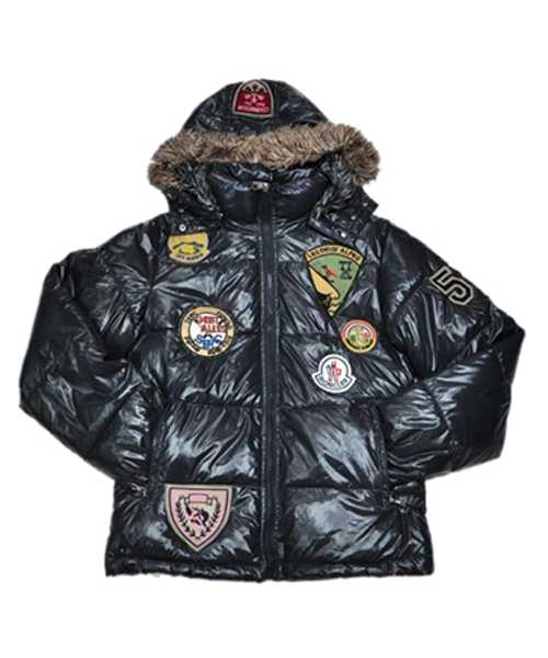 Moncler Multiple Logo Mens And Women Down Jackets Hooded Dark Bl