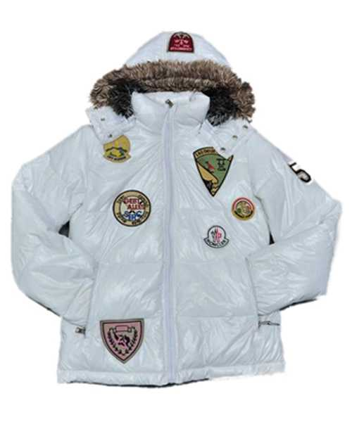 Moncler Multiple Logo Mens And Women Down Jackets Hooded White