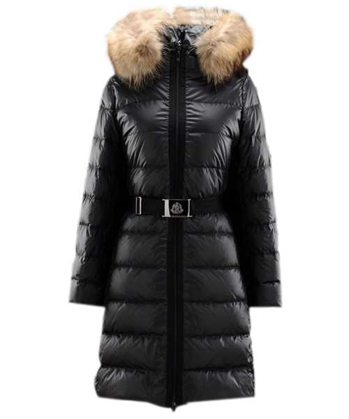 Moncler Nantesfur Women Coat Belt Decoration Black