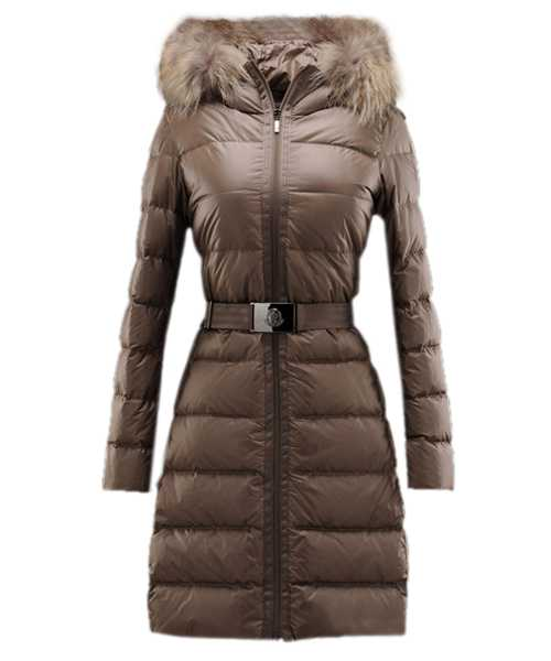 Moncler Nantesfur Women Coat Belt Decoration Brown