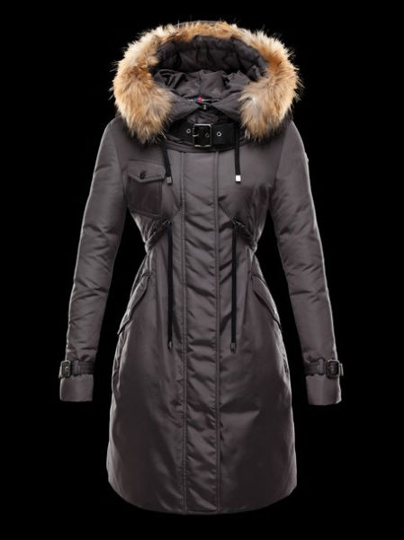 Moncler Phalangere Long Coats for Women Gray