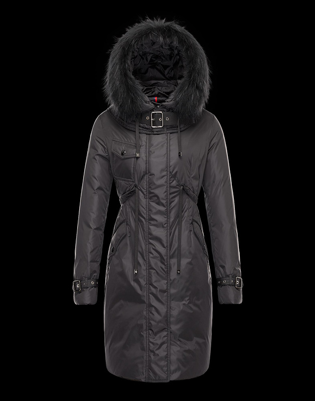 Moncler Phalangere Long Coats for Women Black