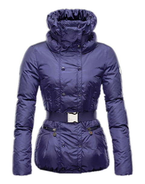 Moncler Phalene Womens Jackets Collar Decorative Belt Blue